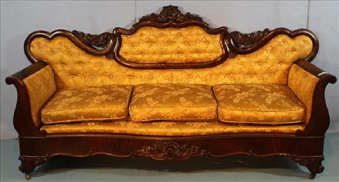 Flame mahogany Empire sofa with medallion back
