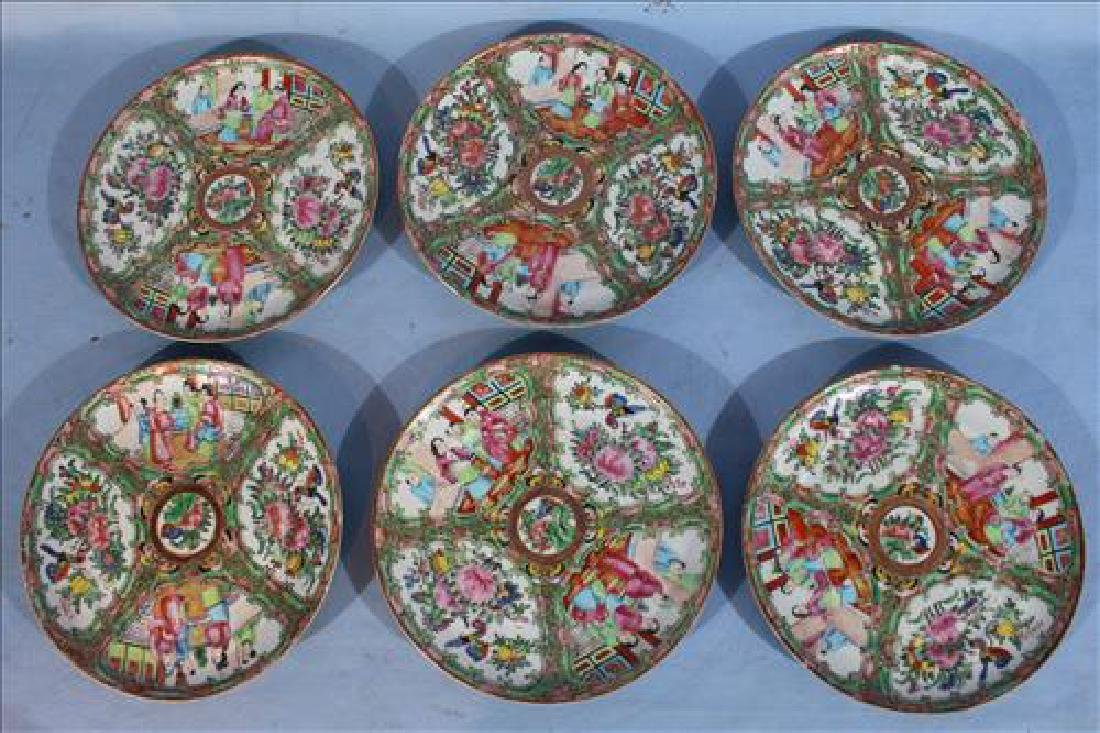 Set of 6 19th Century Rose Medallion plates, 8 in. Dia.