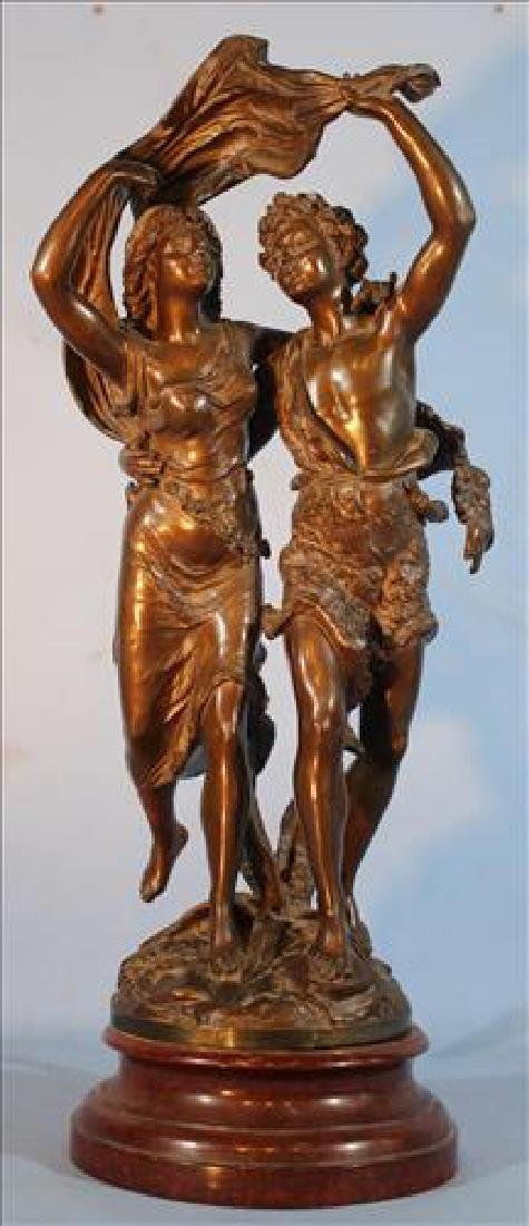 Nice quality patinated metal statue lovers