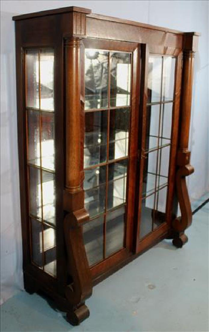 Mahogany Empire china cabinet with column and scroll - 4