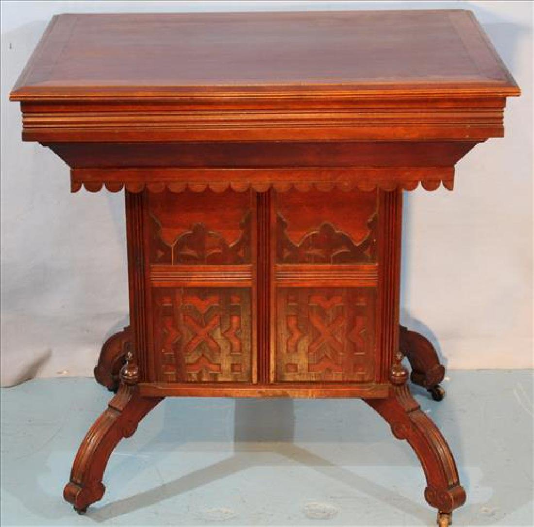 Walnut Victorian lift top wash stand signed