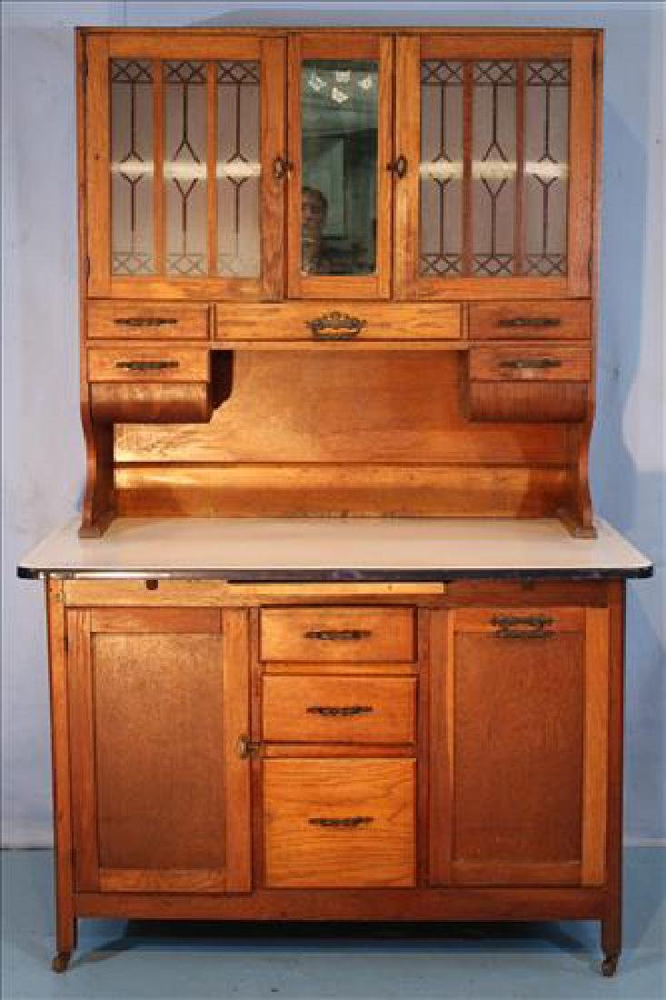 Oak complete Hoosier cabinet with galvanized top