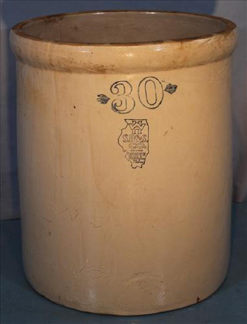 30 gallon crock made by S.P. & S. Co, White Hall Ill.
