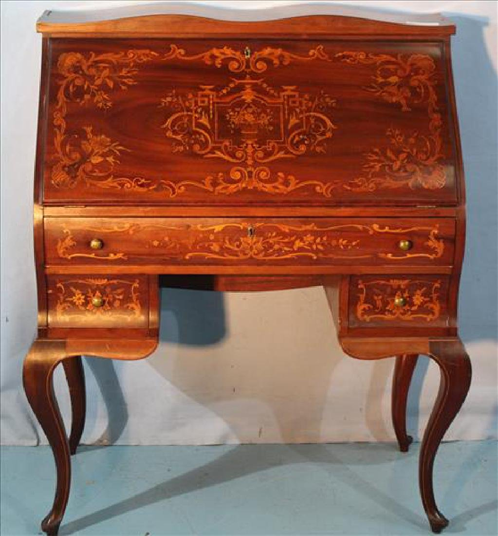 French mahogany inlay ladies writing desk