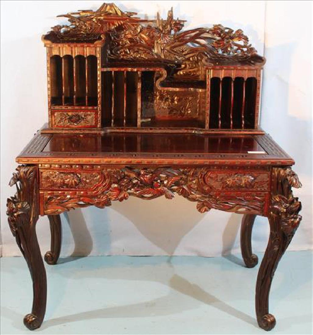 Oriental heavily carved mahogany writing desk