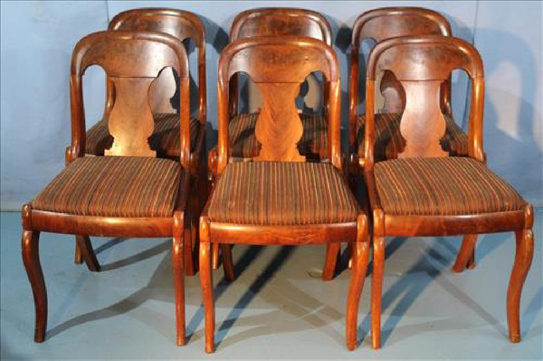 Set of 6 mahogany Empire sabre leg dining chairs