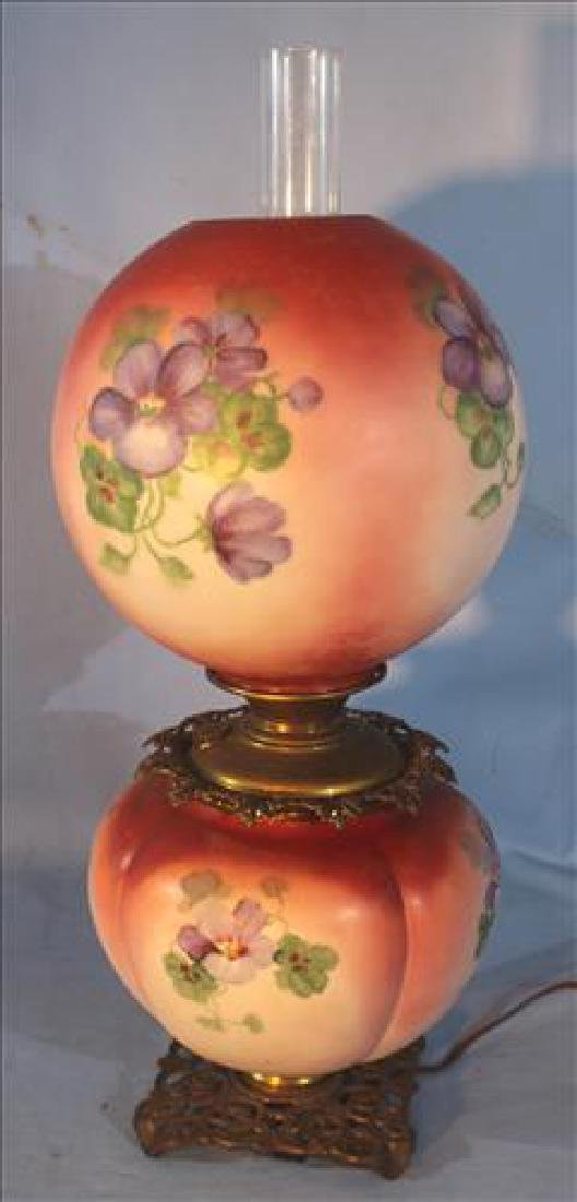 Gone with the wind oil lamp with painted flowers