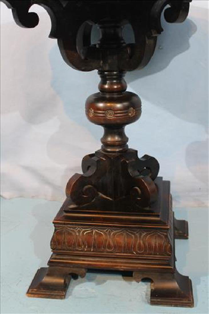 Unusual mahogany center table with carved base - 2