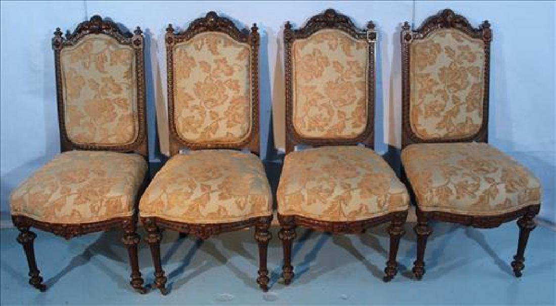 Set of 4 reinassiance side chairs with blue and brown