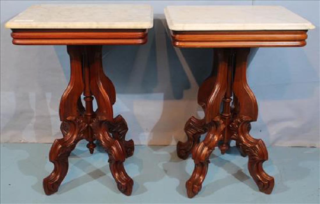 Pair walnut Victorian marble top side tables