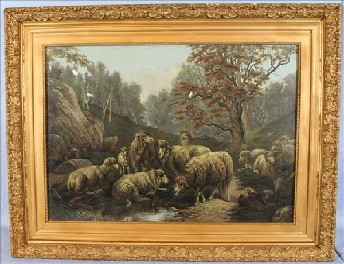 Old print of sheep in gold gilt frame 27.5 x 35