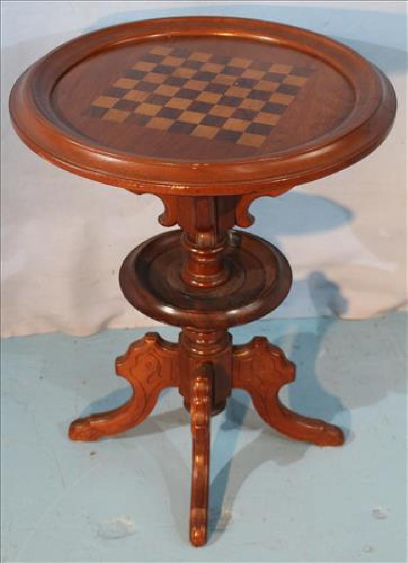 Walnut Victorian checkerboard table, 30 in. T, 22.5 in.