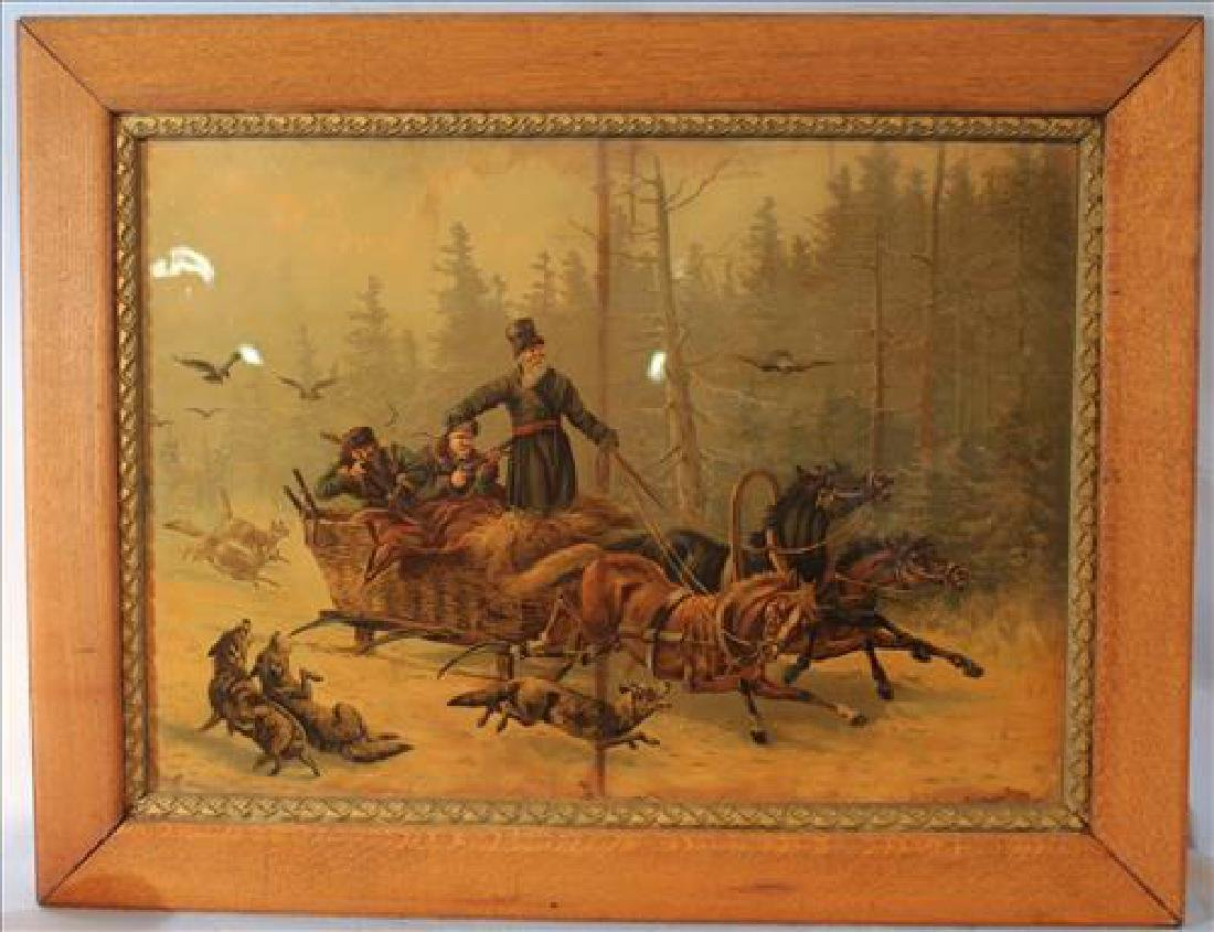 Old print in oak frame of pioneers, 27 x 35