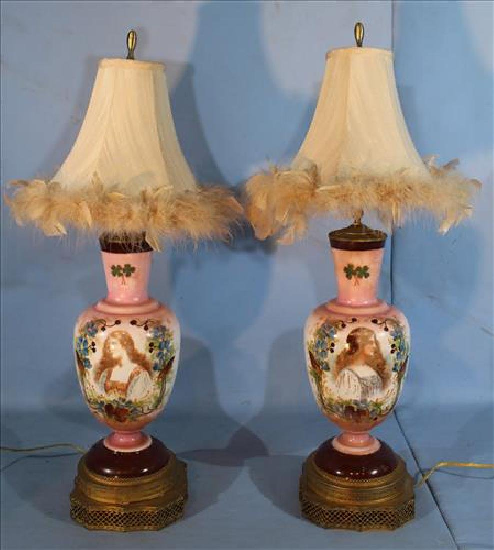 Pair of Bristol vases converted into lamps