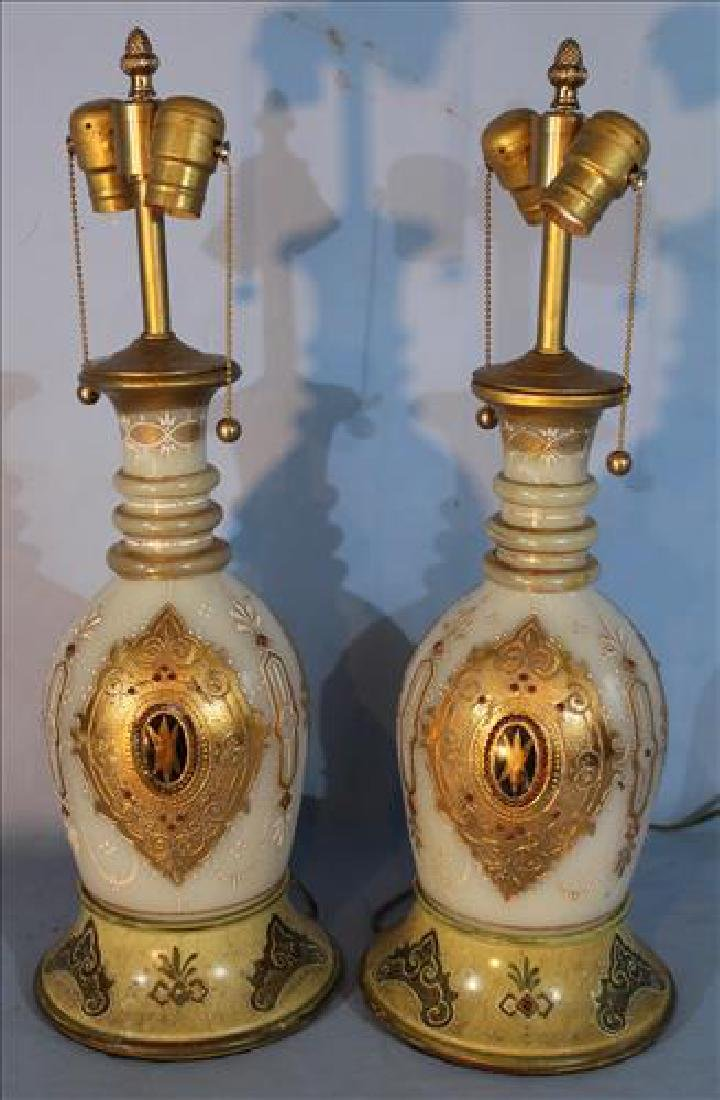 Pair of jewel glass bohemian lamps with gold paint