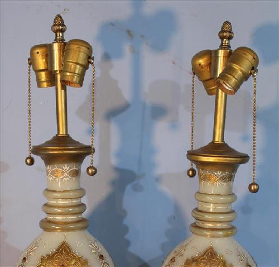 Pair of jewel glass bohemian lamps with gold paint - 2