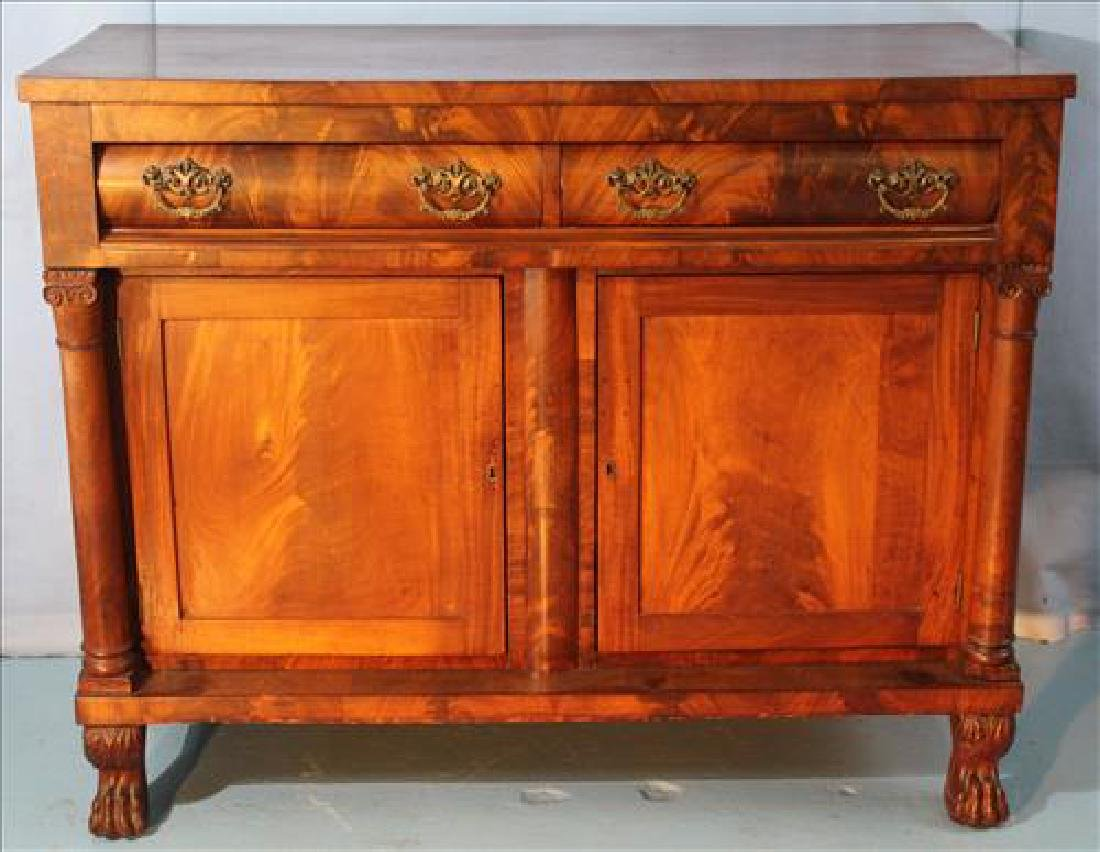 Flame mahogany Empire sideboard with column front