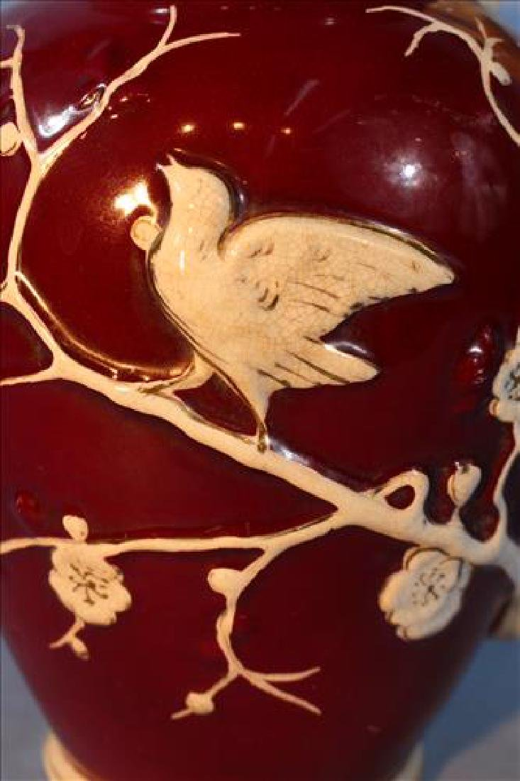JaPonica Early old Paris pitcher with birds, 12 in. T. - 2
