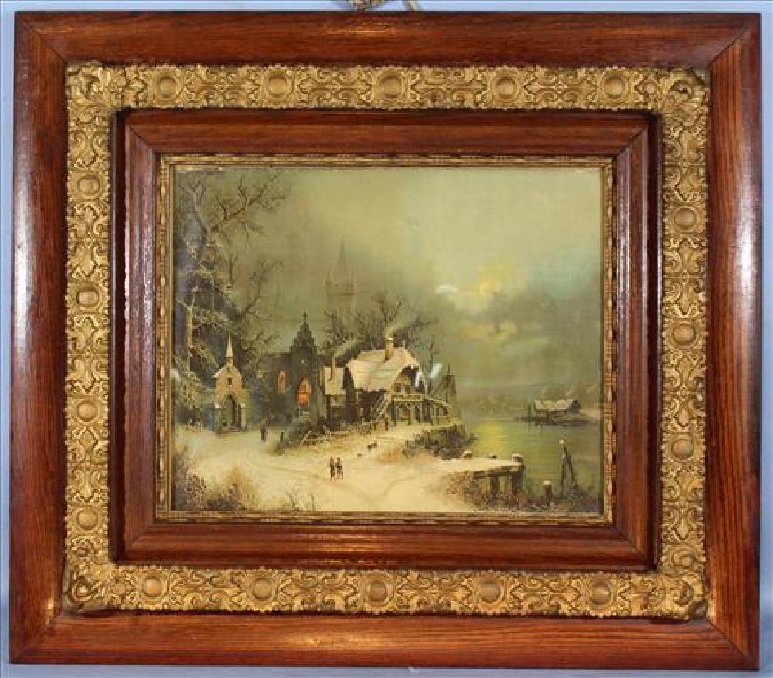 Old print of village scene in oak frame, 29.5 x 33.5
