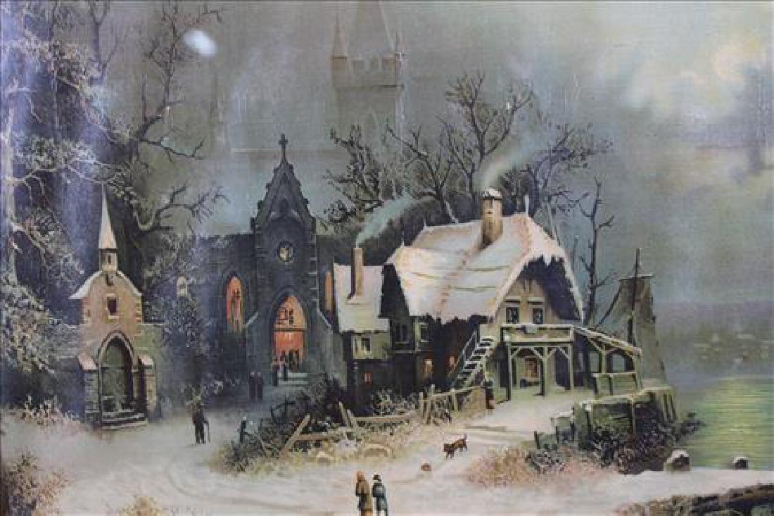 Old print of village scene in oak frame, 29.5 x 33.5 - 2