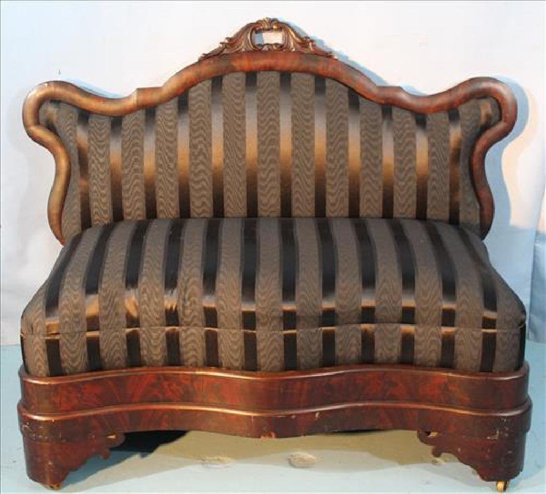 Mahogany Empire bustle bench with stripe fabric