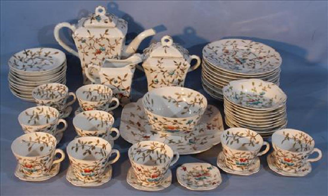 5 piece old Paris dessert set with flowers
