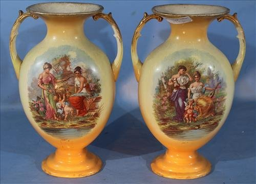 Pair English porcelain mantle vases, 16 in. T.
