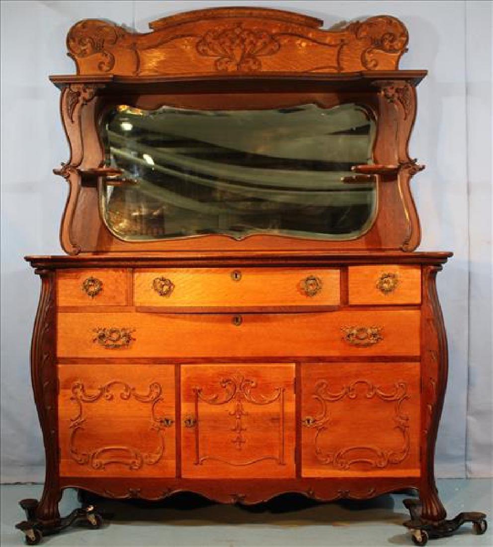 Oak sideboard, 3 door bottom and mirror top