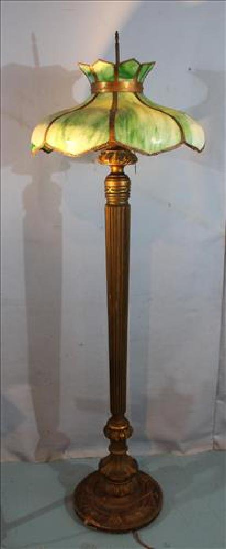 Wooden floor lamp with stained slag glass shade