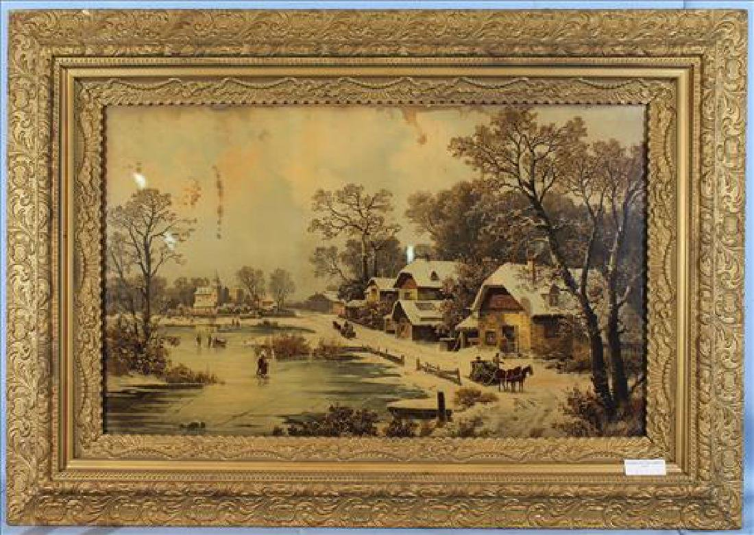 Old print of snow scene, 33 x 47