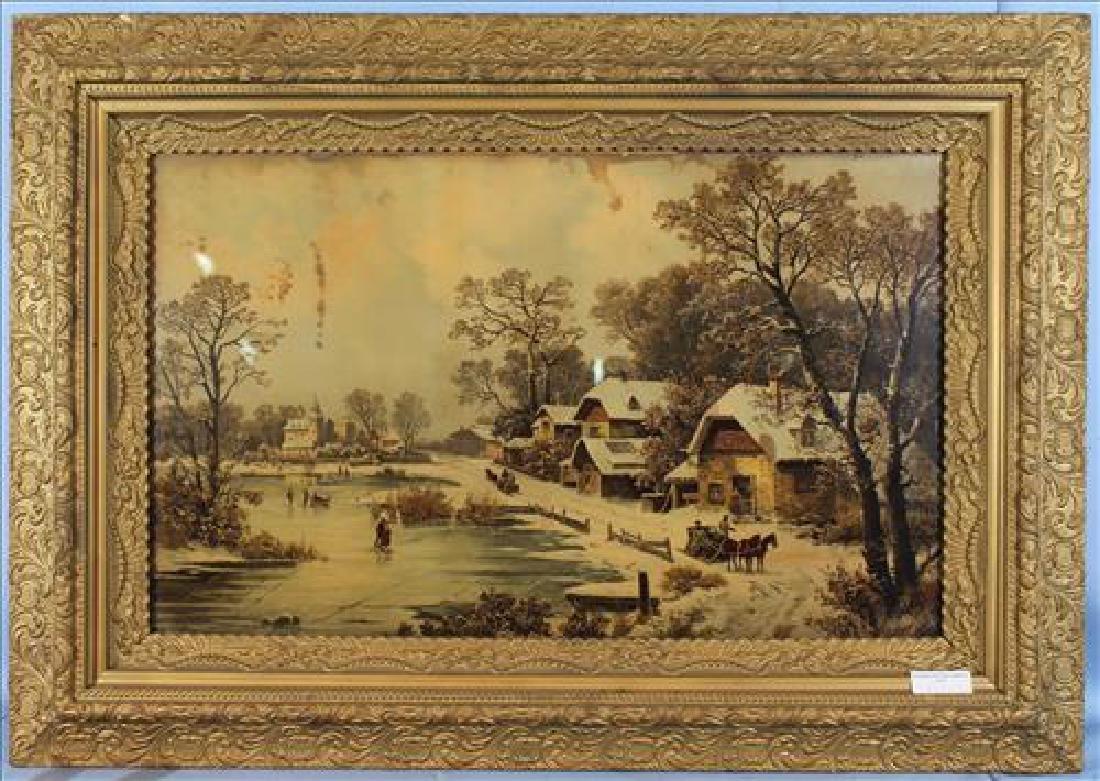 Old print of snow scene, 33 x 47