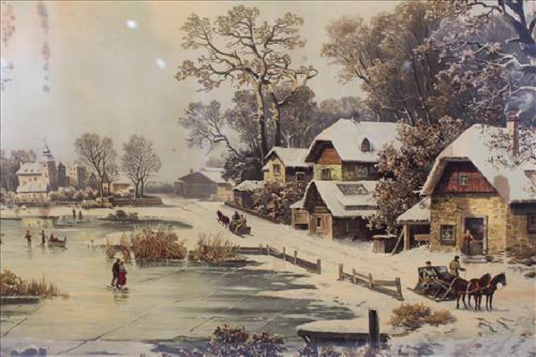 Old print of snow scene, 33 x 47 - 2