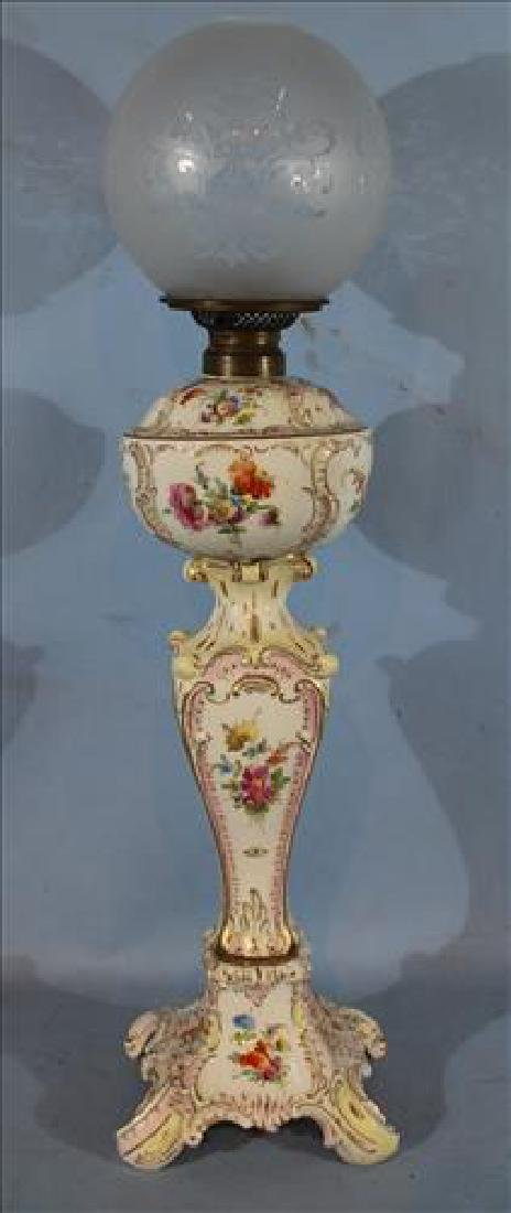 Dresden lamp with globe and floral design, 32 in. T.