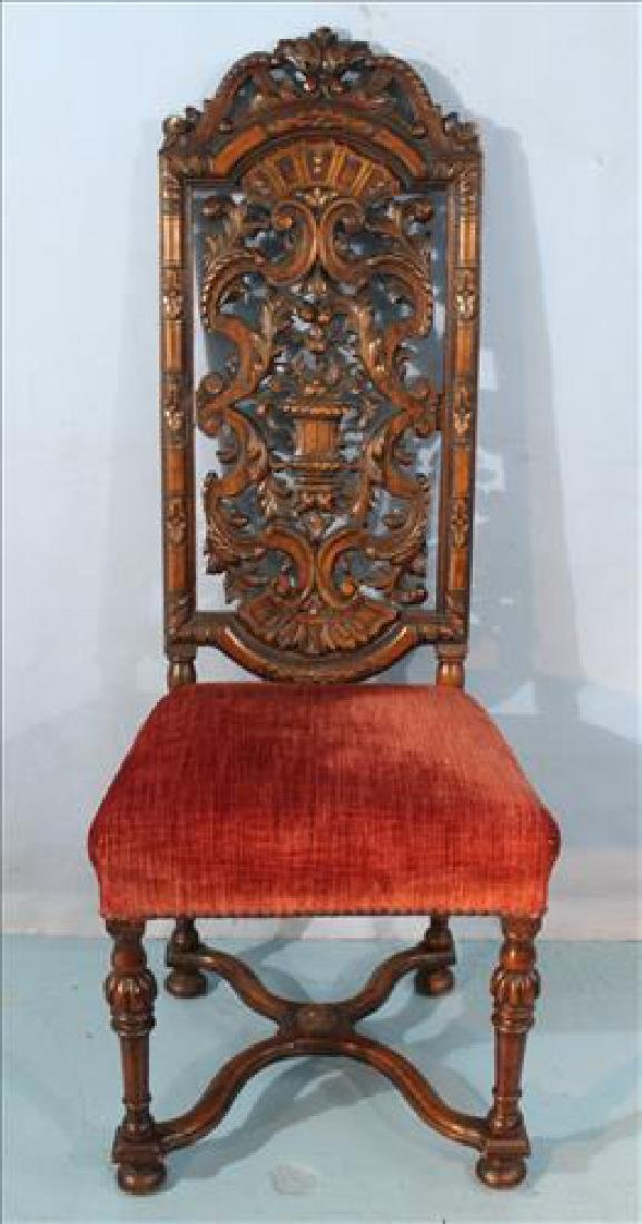 Heavily pierced carved mahogany hall chair