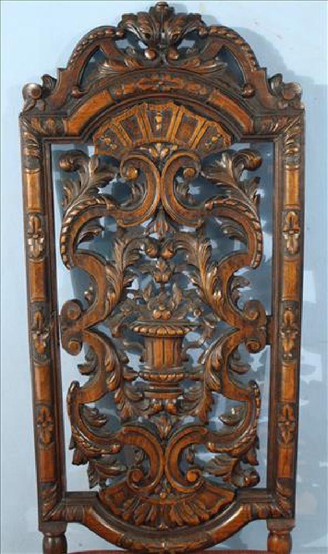 Heavily pierced carved mahogany hall chair - 2