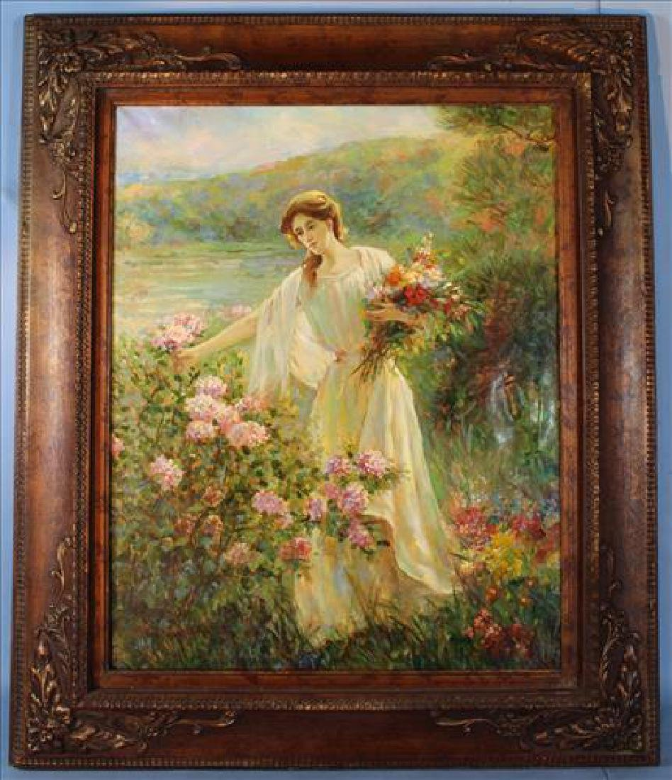 Contemporary painting of girl picking flowers