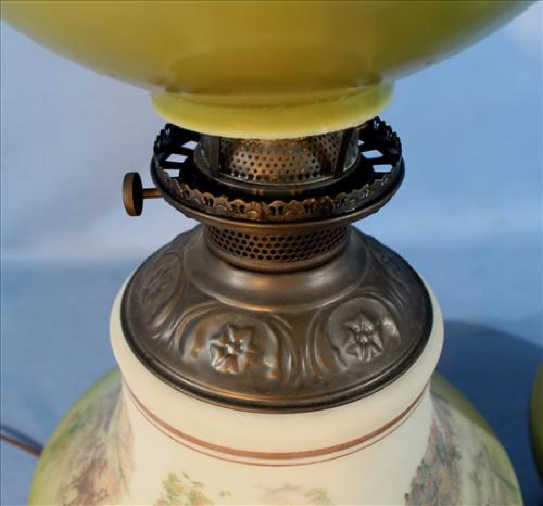 Pair Victorian oil lamps with stagecoach, 29 in. T. - 3