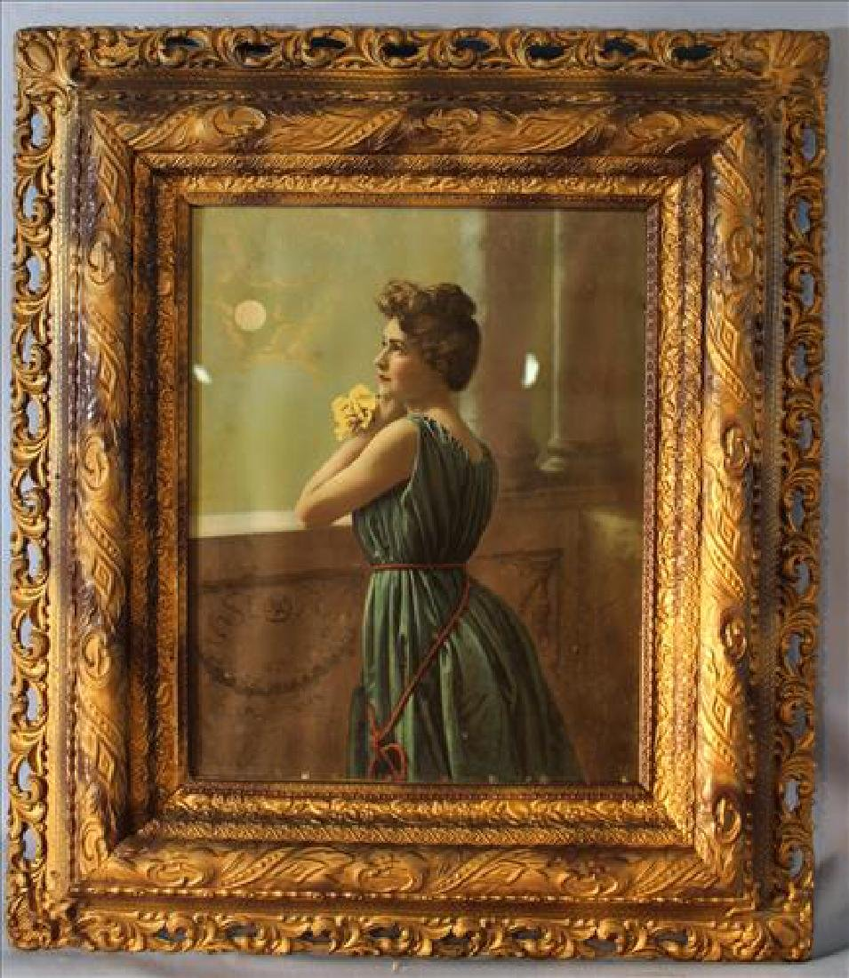 Old print of lady in oak frame, 32 x 28