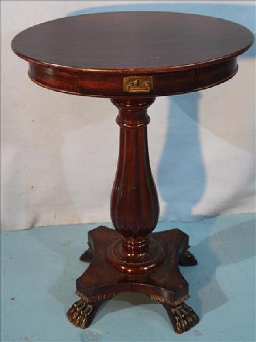Mahogany Empire round side table with column base