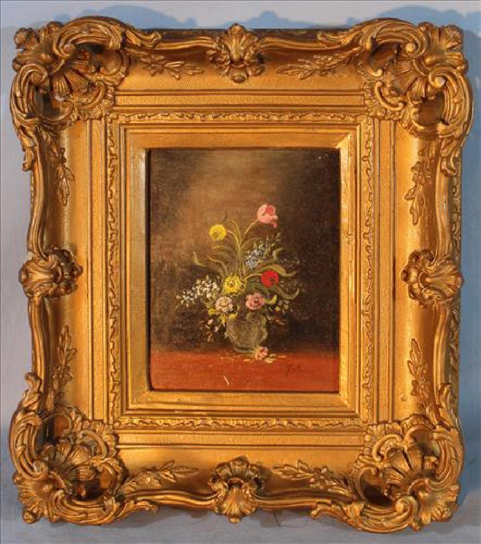 Oil on board of flowers in gold gilded frame, 15 x 12
