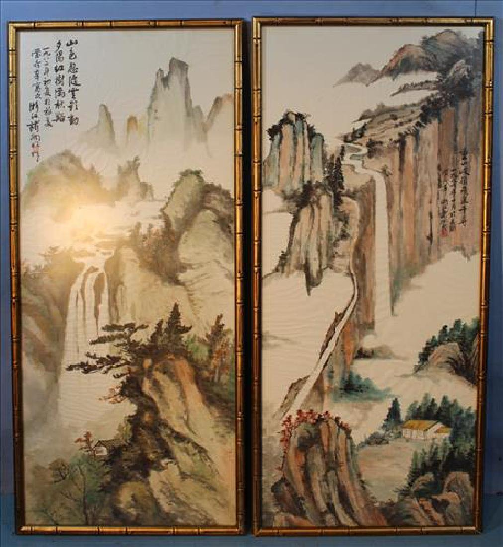 2 piece set of Asian watercolor on rice paper of