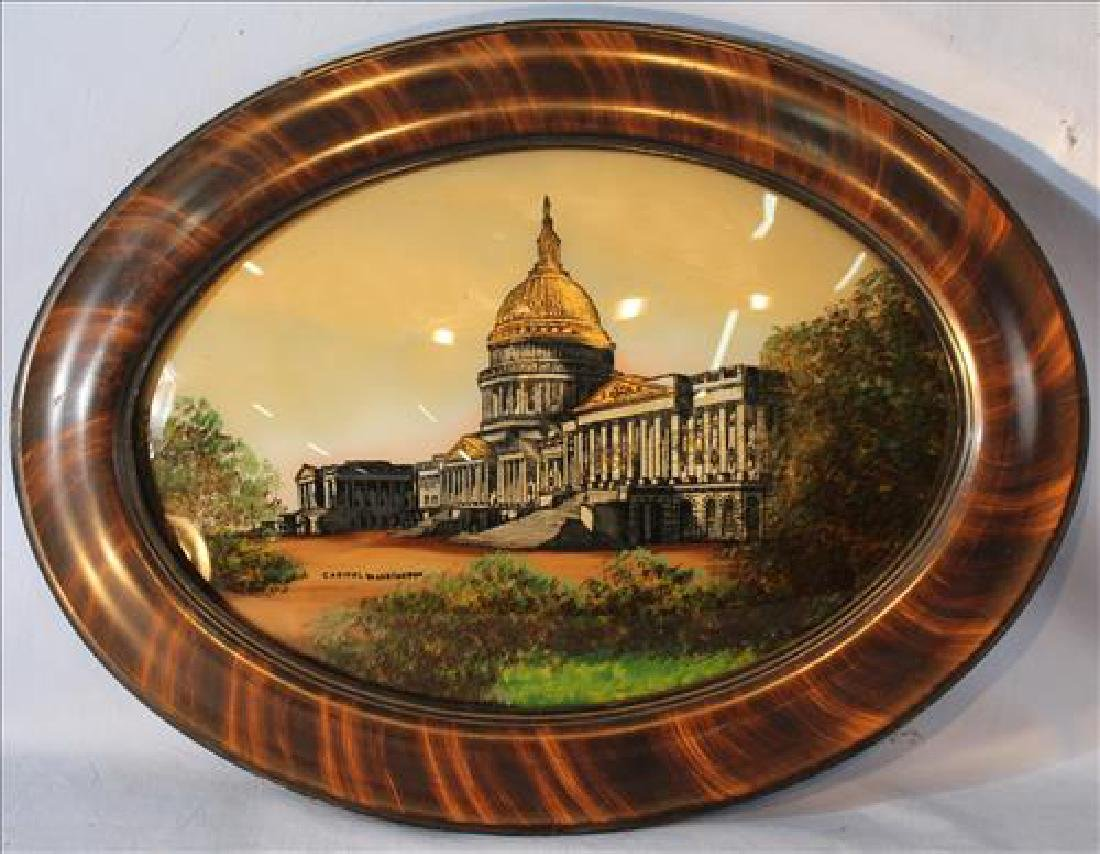Reverse painting on convex glass of Capitol Washington
