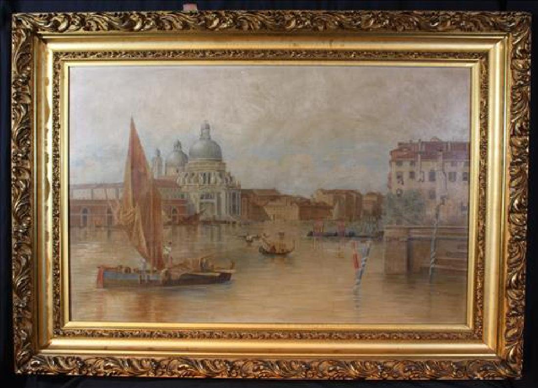 Antique oil on canvas of canal scene by G.B. McQuade