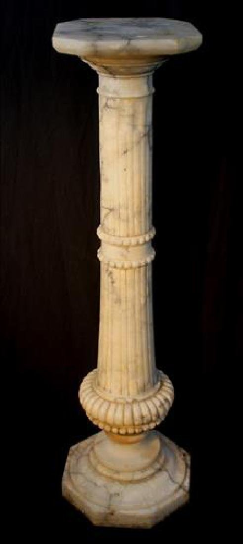 Antique ornate fluted marble pedestal, 39.5 in. T.