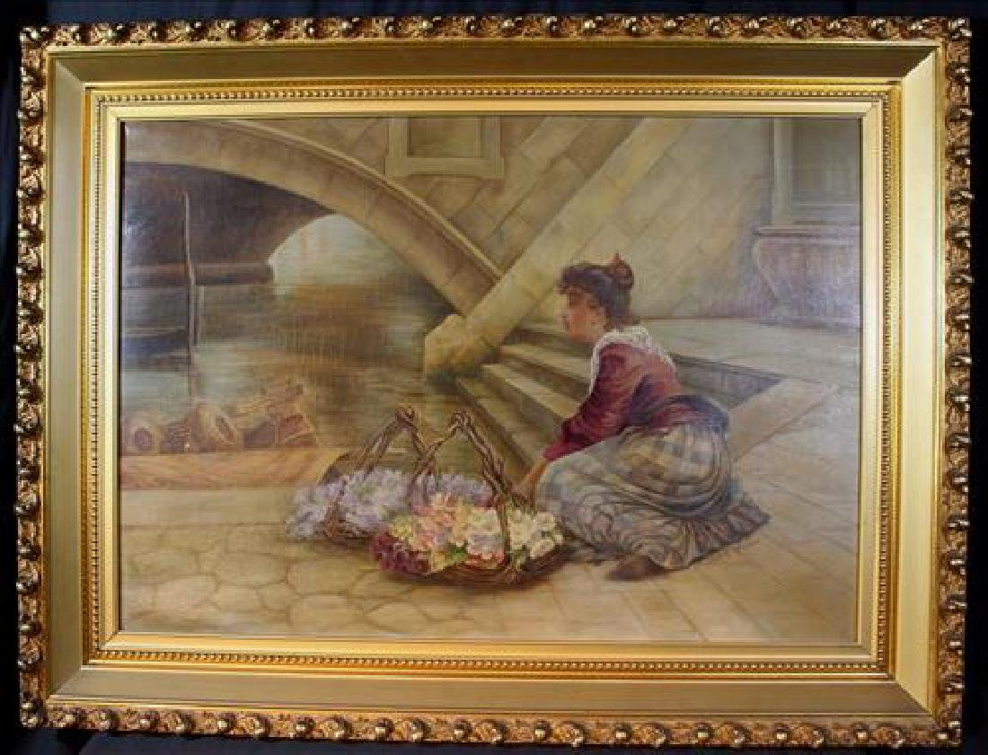 Antique oil on canvas of flower girl, 42 x 32.5