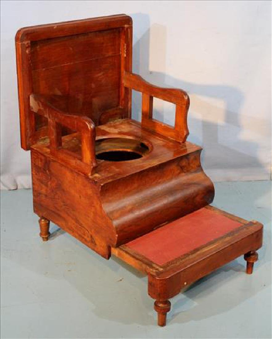 Mahogany Empire bed step with potty and arm rest