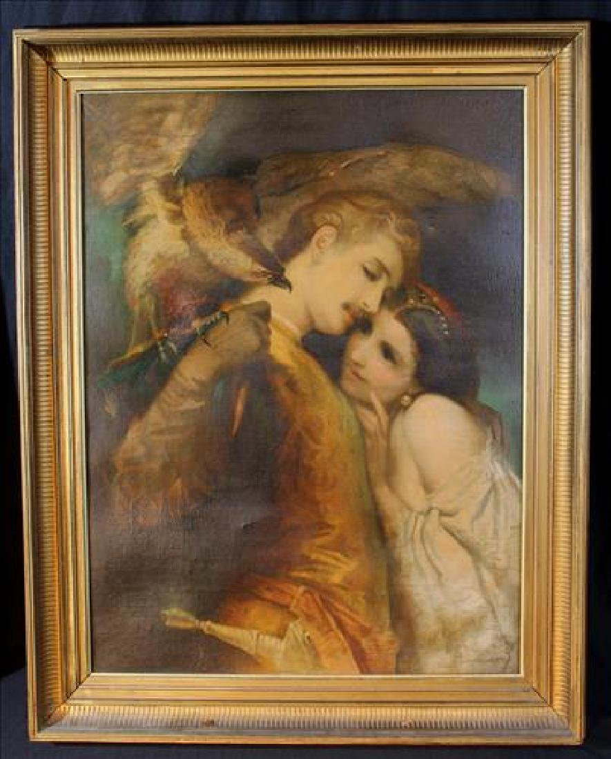 Antique oil on canvas of classical falcon scene, 32.5 x