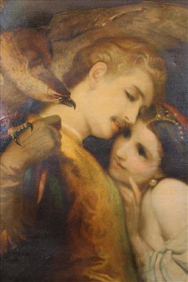 Antique oil on canvas of classical falcon scene, 32.5 x - 2