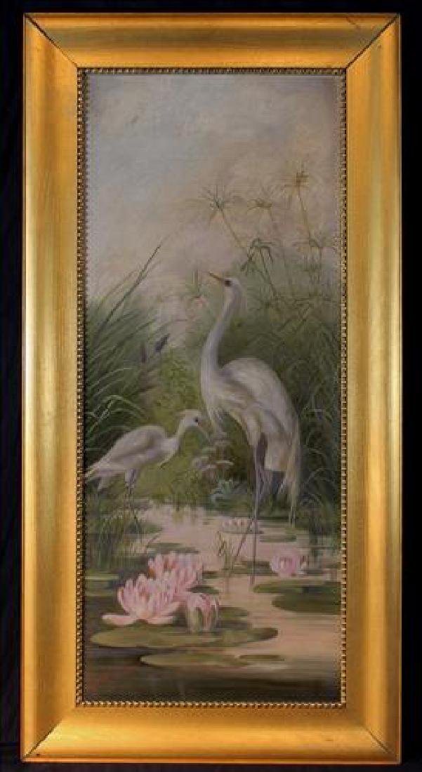 Antique oil on canvas of crane waterfowl, 42 x 21.5