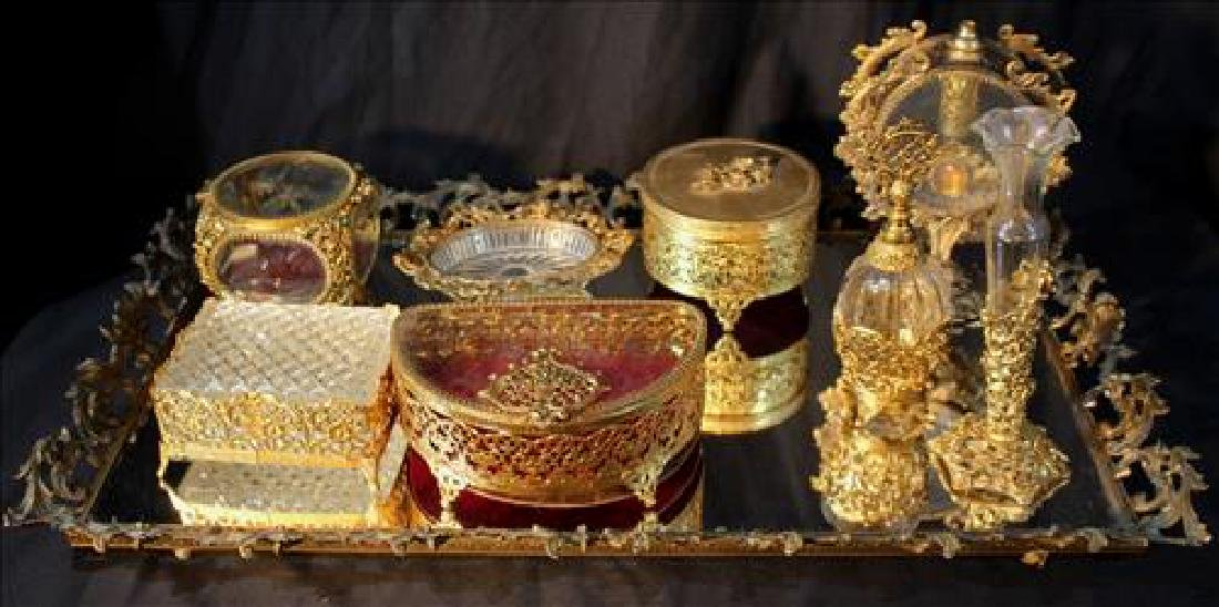 Assorted cut glass and gold plated dresser pieces w